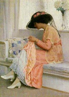 A Stitch in Time, 1915, William Henry Margetson (1861-1940)