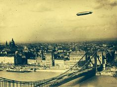 Graf Zeppelin flies over Budapest, Hungary, 1931 Zeppelin, Old Pictures, Old Photos, Nostalgia, History Photos, Interesting History, Historical Pictures, Time Travel, Airplane View