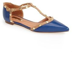 Halogen® 'Olson' Pointy Toe Studded T-Strap Flat (Women)
