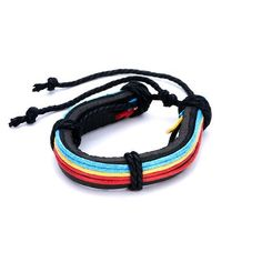 Pugster Red Blue Cotton Leather Button Multistrand Adjustable Bracelet Pugster. $6.79. Size (mm): 210*15.7*12.76. Color: red,blue. Weight (gram): 12.1. Metal: leather,cotton