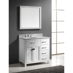 Virtu USA Caroline Parkway 36 in. W x 36 in. H Vanity with Marble Vanity Top in Carrara White with White Round Basin and Mirror-MS-2136R-WMRO-WH - The Home Depot