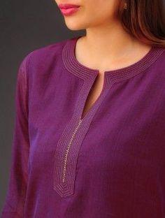 Purple Chanderi Zari Stitch D Salwar Neck Designs, Churidar Designs, Kurta Neck Design, Neck Designs For Suits, Neckline Designs, Kurta Designs Women, Dress Neck Designs, Designs For Dresses, Blouse Designs