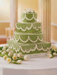 moss green and lace