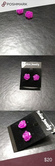 *Sale*  Purple rose fashion earrings Pretty purple rose earrings with a little shimmer Jewelry Earrings