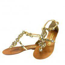 Sandália metálica ouro 0279 Mezzo Punto Moselle
