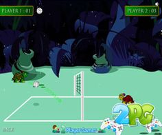Jungle Volleyball 2 player game review - In this game you play a game of volleyball with cute animals the jungle. This game can be played as both single player and a 2 player mode from the same computer. Collect powers during play and use them to have an edge over your opponent during the match! Click on the instructions button to know more about powers!