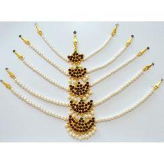 Kemp Forehead Set with pearls for Children. Temple Jewelry, Bharatanatyam dance jewelry, Dance jewelry