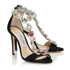Jimmy Choo Heeled Flower Patterns Open Toe Plain Leather Pin Heels Party Style 7