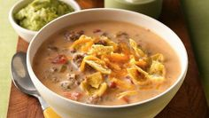 Beefy Nacho Soup.  With taco toppings, this cheesy soup is one your family will ask for again and again.