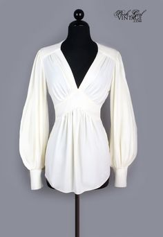 1970's Ivory Ossie Clark Style Poet Sleeve Blouse - M