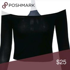 MORE SIZES ADDED the shoulder trendy choker top You need this. Exellent quality, 95% rayon, 5 % spandex,  made in USA Tops Crop Tops
