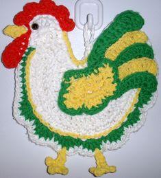crochet Rooster, Wall Deco, By Jerre Lollman