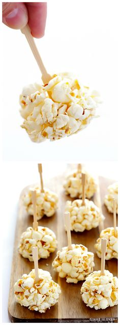 Honey Popcorn Balls that the kids will love! They are easy to make with just 2 ingredients, and are naturally sweetened with honey! | gimmesomeoven.com