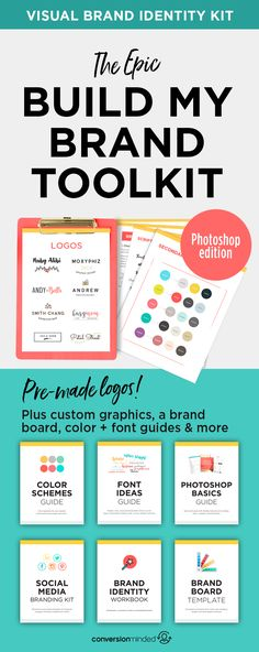 Build My Brand – Photoshop – Pin Traffic Social Media Cheat Sheet, Social Media Template, Branding Your Business, Branding Kit, Visual Identity, Brand Identity, Brand Guidelines Template, 10 Logo, Photoshop Logo