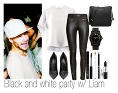 """""""Black and White party w/ Liam"""" by edna-loves-1d ❤ liked on Polyvore featuring Maison Rabih Kayrouz, H&M, MAC Cosmetics, Yves Saint Laurent, Marc by Marc Jacobs and MICHAEL Michael Kors"""