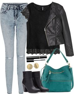 Edgy Hanna Marin inspired outfit with teal purse by liarsstyle featuring a blue purse