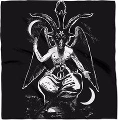 Magick, Witchcraft, Wicca, Eliphas Levi, Inverted Pentagram, Satanic Art, Altar Cloth, Baphomet, Black Canvas