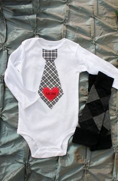 "A ""MOM"" Tattoo Like Baby Boy's Red Heart Appliqued on Any Tie Onesie & Black Argyle Leg Warmers SET via Etsy.  Perfect for Valentine's Day pics!"