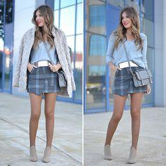 Helena C. - Gray PLaid Asymmetric Skirt
