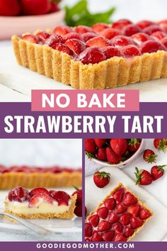 Make this easy no bake white chocolate tart with fresh strawberries - or any summer fruit! It makes a stunning presentation and tastes delicious. Strawberry Desserts, Köstliche Desserts, Delicious Desserts, Dessert Recipes, Strawberry Tart, Dessert Bars, Yummy Food, White Chocolate Strawberries, Baked Strawberries