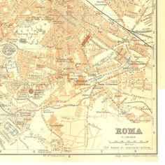 1926 Rome Vintage City Map Street Plan Italy  by CarambasVintage, $25.00