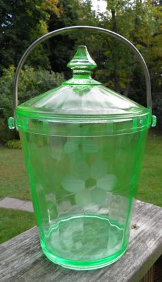 Vintage Depression Etched Green Glass Ice Bucket by TheDecoHotel