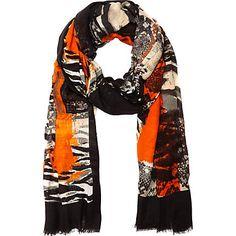 Black arty print long scarf