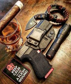 #Repost @tactical_dad_rj ・・・ This was my after work edc. So here's an EDC table drop, BUT taking it down a notch . Drinking some bourbon and smoking a Rocky Patel edge.  Using @corsoconcealment holster for my glock 23. Not only is it an effective IWB holster, but all in stock holsters ship the same day! Use TACTICALDADRJ for free shipping Patch by @patch.me.up Use TACTICALDADRJ for 12 % off your purchase