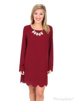 Hey Pretty Girl Burgundy Scalloped Shift Dress | Monday Dress Boutique
