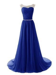 Pas cher robe de soirée élégante perlées. scoop dos ouvert robe de nuit robe de cocktail bleu royal pli top en mousseline de soie robe de soirée sirène