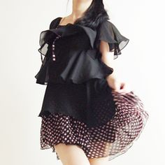 Cancan loose fit tiered chiffon blouse