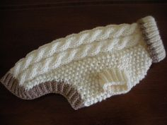Dog Sweater Cable Knit Ivory Small Ready to by bychancedesigns Crochet Dog Clothes, Crochet Dog Sweater, Dog Sweater Pattern, Dog Pattern, Knit Or Crochet, Pet Clothes, Dog Jumpers, Dog Clothes Patterns, Dog Sweaters