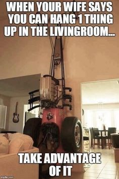 Haha that could go in our living room! Car Jokes, Truck Memes, Funny Car Memes, Car Humor, Funny Cars, Redneck Humor, Mechanic Humor, Twisted Humor, Drag Racing