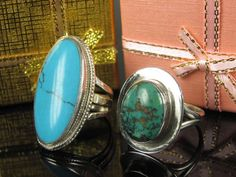 2 x ring with turquoise 925 silver – handmade