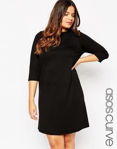ASOS CURVE Ponte Shift Dress with 3/4 Sleeve