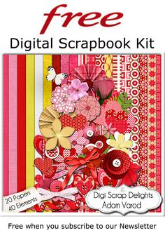 Free Digital Scrapbook Kit 20 Papers 40 Elements Red and Gold #Free #Freebies