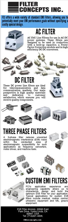 Here I share the of Filter Concepts Inc., One of the leading provider of standard EMI / RFI Filters and EMC
