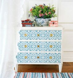 so pretty!  could totally do this to my lame ikea dresser i have hidden in my spare closet