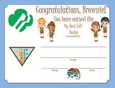 Brownie My Best Self Badge Certificate