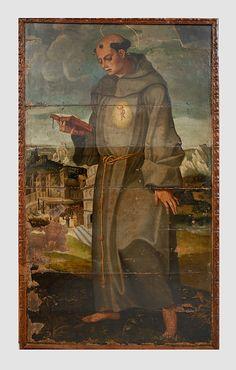 Anónimo español  Oleo sobre tabla de roble  Pintura decorativa: Puertas de un Retablo  210 x 119 cm aproximadamente cada una.
