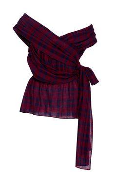 Draped Plaid Phoebe Blouse by TANYA TAYLOR for Preorder on Moda Operandi