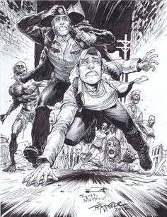 The Walking Dead: Glenn and Rick Escape, in matthew reed 's Artist: Tony Moore (Con Sketches etc) Comic Art Gallery Room Glenn The Walking Dead, Walking Dead Comic Book, Walking Dead Comics, Walking Dead Art, Zombies, Twd Comics, Arte Horror, Horror Art, Horror Movies
