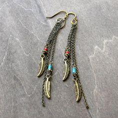 Brass shoulder duster earrings feather earrings with