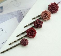 Ivory Colour Burgundy Red Masala Maroon Red Rose Flower Hair Comb Bridesmaids Gifts Flower Girl Comb Burgundy Wine Red Bridal Wedding Comb
