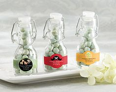 Personalized Mini Glass Favor Bottle with Swing Top-Set of 12 (Birthday Designs)