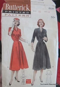 Vintage 1950s Shirtwaist Dress Pattern Butterick 6126 от linbot1