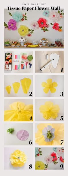 playful DIY tissue paper floral wall: http://www.swellmayde.com/2015/03/diy-easter-party-table-and-floral-wall.html?m=1