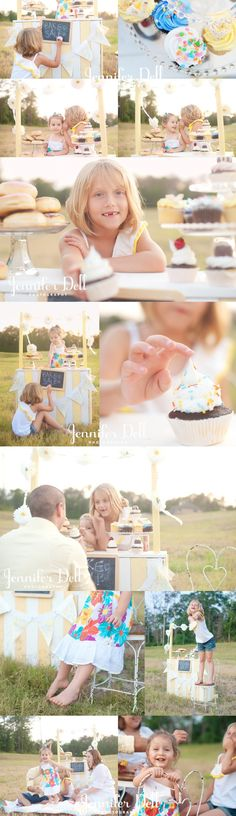 I love this bake sale theme! ♡ Houston Stylized Family Photography - Jennifer Dell | Photo Session Ideas | Props | Prop | Child Photography | Clothing Inspiration| Fashion | Pose Idea | Poses | Siblings | Cupcake
