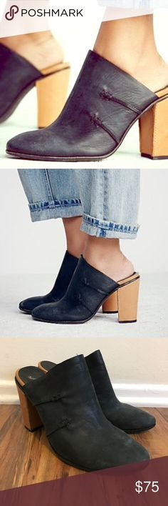 """Free People Stateside Mule Black 40 Washed leather mules with contrast leather heels. Size 40. Worn once or twice, great condition   FP Collection  Modern and sartorial styles, artisan crafted from fine leathers and premium materials, FP Collection shoes are coveted for their signature cutting-edge aesthetic.  Leather Made in Portugal Heel: 4.5"""" = 11.43 cm Free People Shoes Mules & Clogs"""
