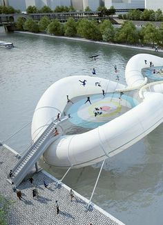 Trampoline bridge could let you bounce across the Seine -  Parisian architects propose an inflatable doughnut structure over the river to rival London's wobbly bridge